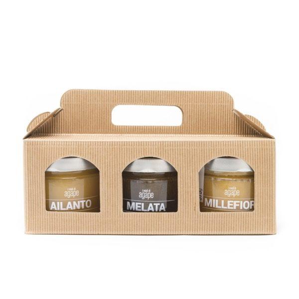 Confezione regalo 3 mieli 375g azienda agricola agape miele biologico